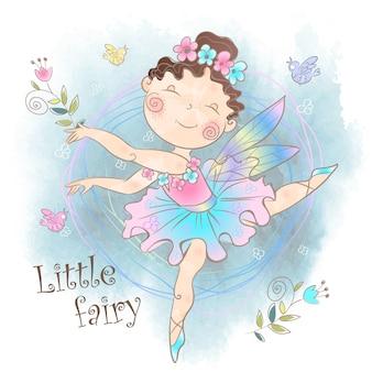 Маленькая милая волшебная фея с цветами.