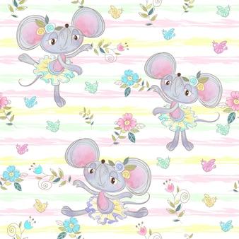 Бесшовные модели смешные мыши балерины танцуют на лугу.