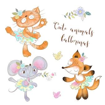 Набор игрушечных персонажей. мышь кот и лиса в пачке. животные балерины