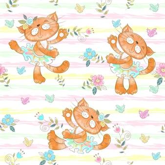 猫のバレリーナのダンスとのシームレスなパターン。
