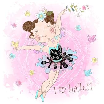 踊るかわいい女の子バレリーナ。バレエが大好きです。碑文。