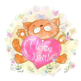 心のかわいい子猫。わたしは、あなたを愛しています。バレンタイン。