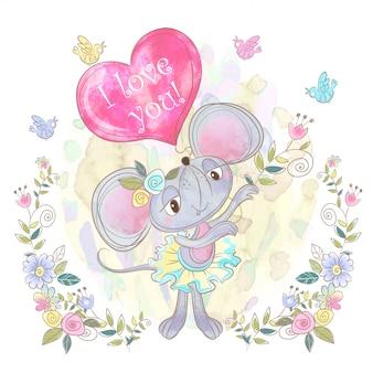 ハートの形をした風船でかわいいマウスの女の子。バレンタイン。