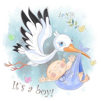 コウノトリが赤ちゃん男の子カードで飛ぶ