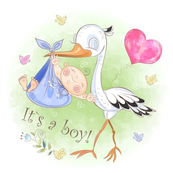 コウノトリが男の子と飛ぶ