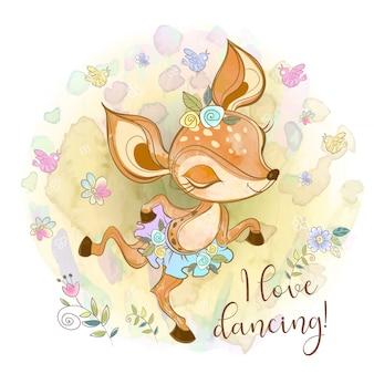 Милый олененок в пачке танцует