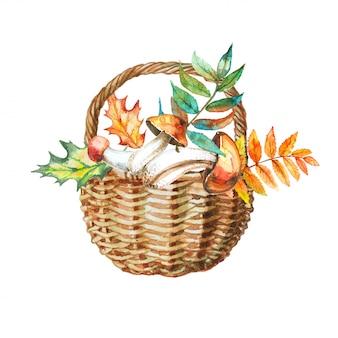 秋のキノコのバスケットは、水彩画の手法で残します。