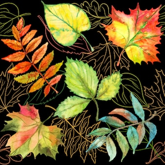 Бесшовный фон с осенними листьями.