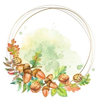 Круглая золотая рамка с грецкими орехами и желудями. акварель.