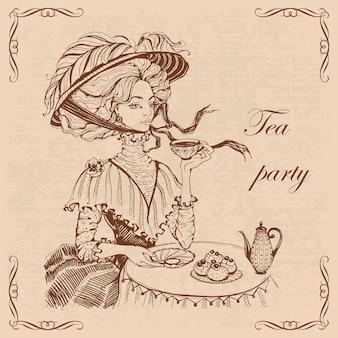 お茶のヴィンテージのイラストを飲む帽子の少女