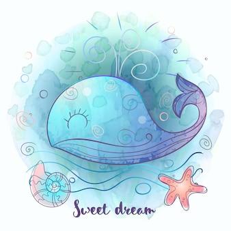 甘く寝ているかわいいクラゲ。水彩。