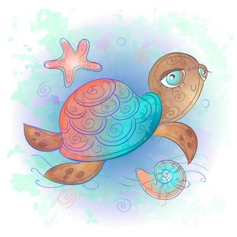 かわいいウミガメ。シーワールド。水彩。