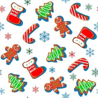 雪の結晶とジンジャーブレッドのクッキー