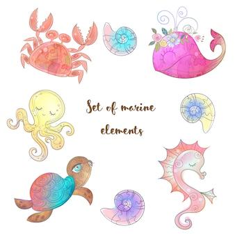 Набор милых морских животных осьминога, морского конька кита и медузы.