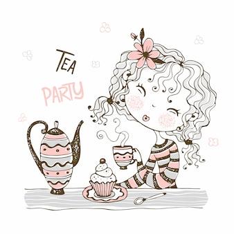 かわいい女の子がお茶を飲みます。ティーパーティー。落書きスタイル。
