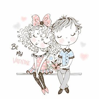 Иллюстрация милого мальчика и девушки на первом свидании.