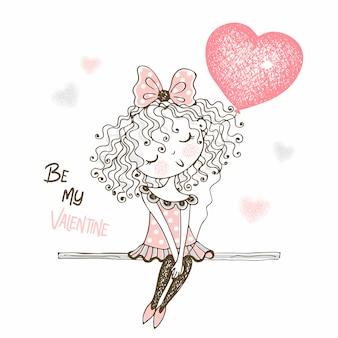 Милая маленькая девочка с воздушным шаром в форме сердца. ты мой валентин.