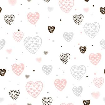バレンタインの心とのシームレスなパターン。