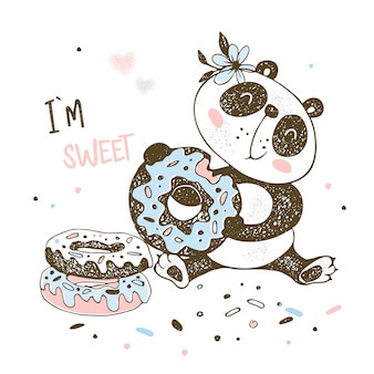 Милая маленькая панда ест сладкие пончики.
