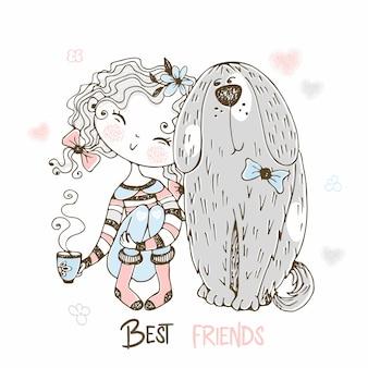 彼女のペットの大きな犬と一緒に座っているかわいい女の子。親友。