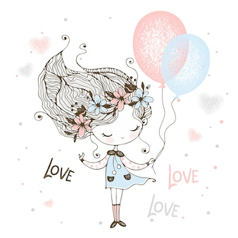 花の花輪のかわいい女の子が風船で立っています。