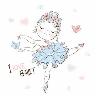 Милая маленькая балерина в пачке танцует красиво.