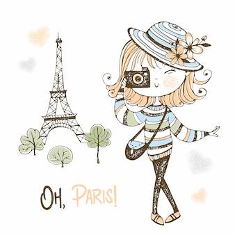 パリのカメラでかわいい女の子。トラベル。