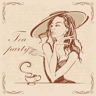 ティーパーティー。お茶を飲む帽子の女の子。