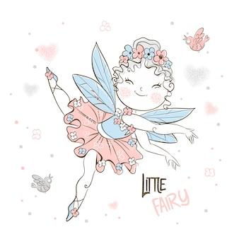 Милая маленькая лесная фея летит с птицами.
