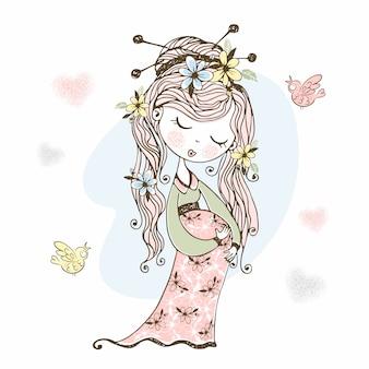 Беременная милая девушка с цветами в волосах.