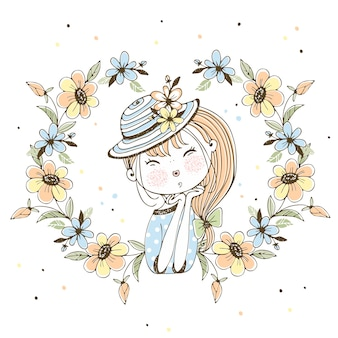 Милая девушка в шляпе в рамке из цветов.