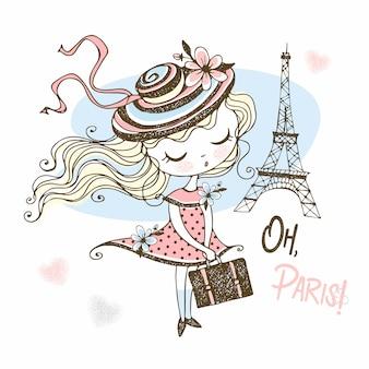 Милая девушка в шляпе с чемоданом в париже. путешествовать.
