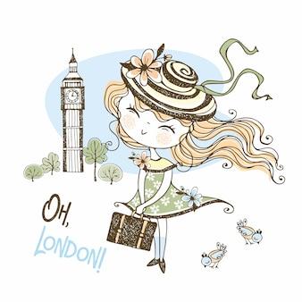 Милая девушка в шляпе с чемоданом в лондоне. путешествовать.