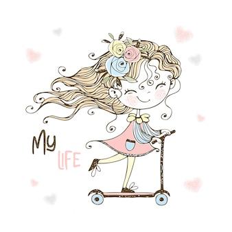 Маленькая милая девушка едет на скутере.