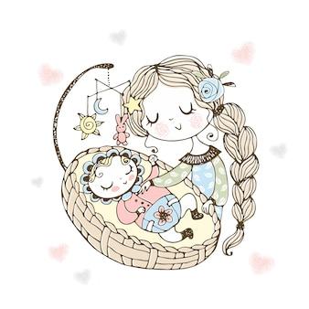 Мама укладывает ребенка спать в колыбели.