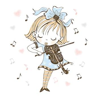 Милая маленькая девочка играет на скрипке.