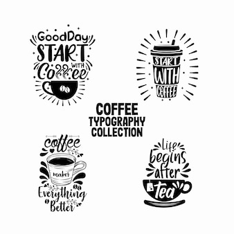 カフェ装飾のためのコーヒータイポグラフィコレクション