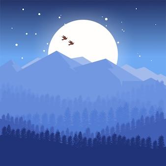 青いデザインの山々の背景