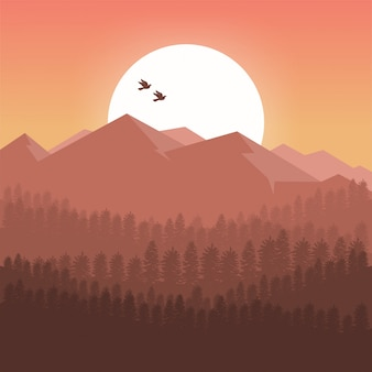 夕日の山々の背景
