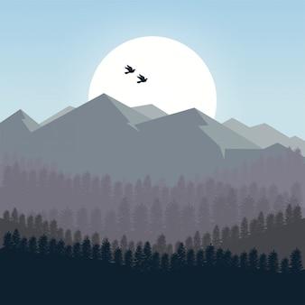 朝の山々の背景