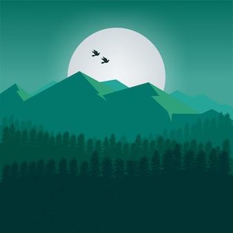 緑色の山々の背景
