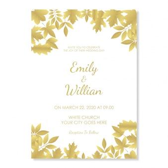 装飾的な葉の豪華な白い結婚式の招待状