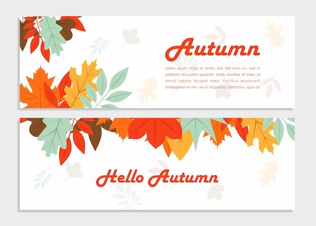 Привет, осень, векторный баннер с красивыми цветами