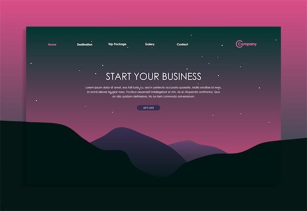 スタートアップビジネスのためのストックベクトルウェブページデザインテンプレート