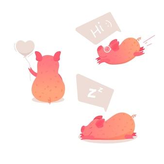 様々なポーズでかわいい豚の漫画のキャラクターのセット。