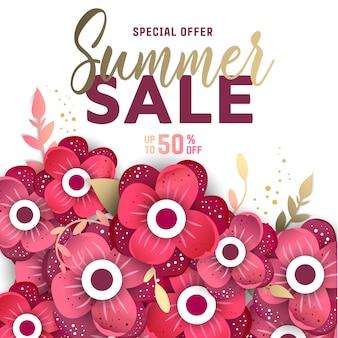 花とバナーの夏販売背景レイアウト