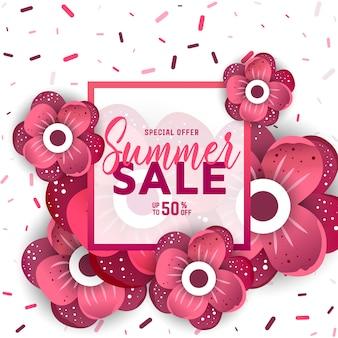 オンラインショッピングのための花と夏のセールのバナー