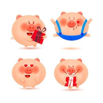 Рождественские свиньи. набор веселых и милых поросят для украшения