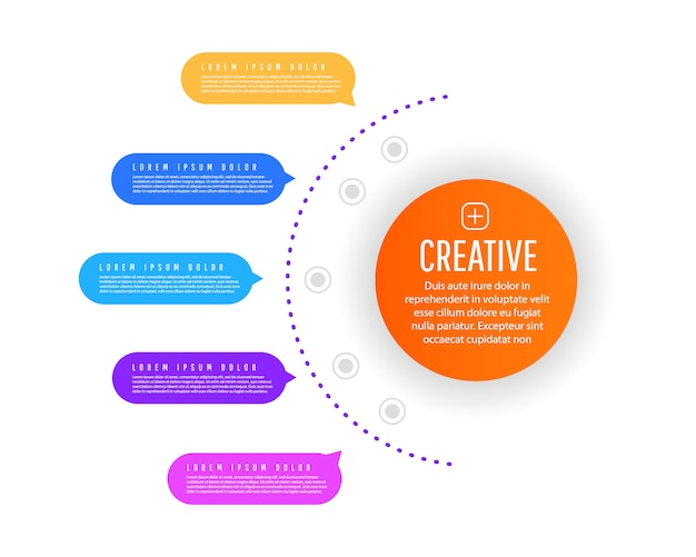 グラデーショングラフの要素、ステップ、オプション、部品またはプロセスを含む図の創造的な概念。