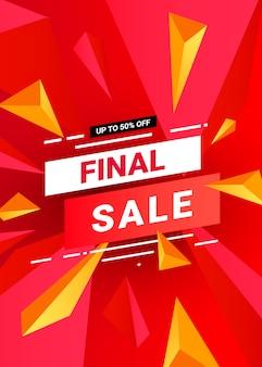 Современная финальная распродажа баннер шаблон с красными треугольниками